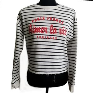 H&M Women's Sweater White Black Stripes